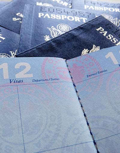 Visas page in passport